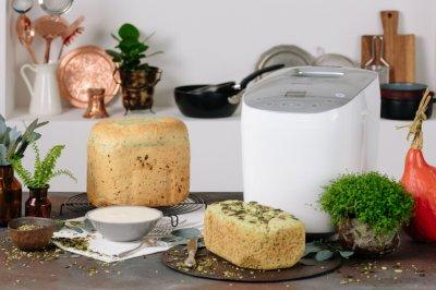 Хлібопічка Gorenje краща домашня хлібопічка з замісом на 16 програм для простого смачного хліба, пирога, кексу, йогурту, здоби, паски, паски і джему. Біла BM1600WGW