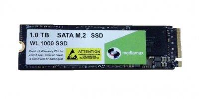Накопитель SSD 1TB Mediamax M.2 2280 NVMe PCIe 3.0 x4 3D NAND TLC Black (WL 1000 SSD Black) Refurbished наработка до 1%