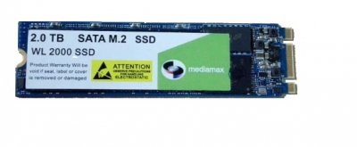 Накопитель SSD 2TB Mediamax M.2 2280 SATAIII 3D NAND TLC Blue (WL 2000 SSD Blue) Refurbished наработка до 1%