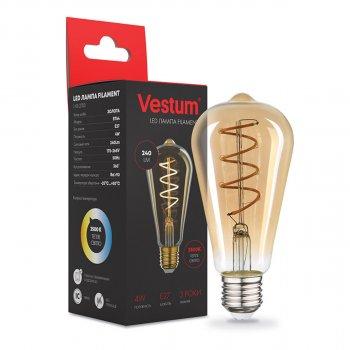 """Филаментная лампа Vestum """"вінтаж"""" golden twist ST64 Е27 4Вт 220V 2500К 1-VS-2703"""