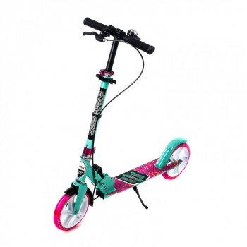 Двоколісний Самокат Amigo Explore NEW GROOVE Scooter рожевий бірюза світяться колеса, дзвінок, ручне гальмо 1189