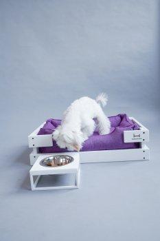 Підставка на одну миску для собак і кішок Harley and Cho S 0.45 л White Wood + White (3102814)