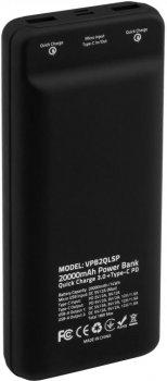 УМБ Vinga QC 3.0 Display Soft Touch 20000 mAh Black (VPB2QLSBK)