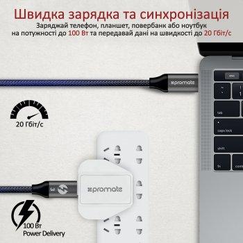 Кабель Promate ThunderLink-C20 USB Type-C/USB Type-C 100W PD 1 м Black (thunderlink-c20.black)