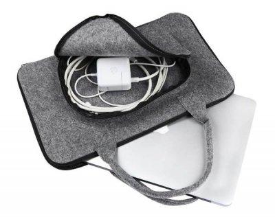 Фетровий чохол-сумка Gmakin для MacBook Pro Retina 15 (2012-2015)/ New Pro 15 (2016-2018) сірий з ручками (GS01-15) Gray