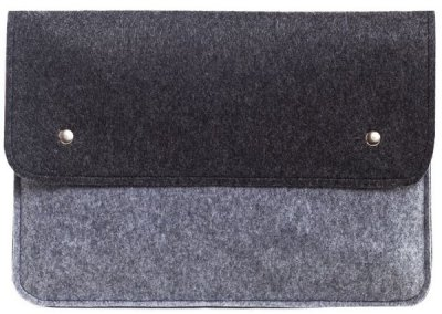 Фетровый чехол-конверт Gmakin для Macbook New Air 13 (2018-2020) серый+черный (GM05-13New) Gray+Black