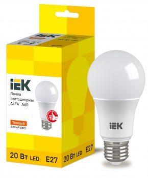 Лампа LED ALFA A60 куля 20Вт 230В 3000К E27 IEK (LLA-A60-20-230-30-E27)