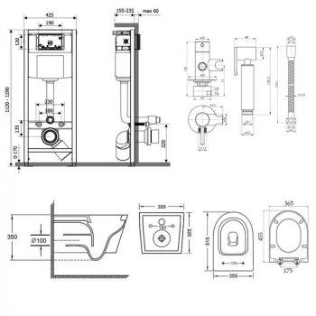 Комплект Qtap інсталяція Nest QTNESTM425M11CRM + унітаз з сидінням Swan QT16335178W + набір для гігієнічного душу зі змішувачем Inspai-Varius QTINSVARCRMV00440001