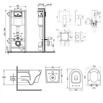 Комплект Qtap інсталяція Nest QTNESTM425M11CRM + унітаз з сидінням Swan QT16335178W + набір для гігієнічного душу зі змішувачем Form QTFORMCRM001AB