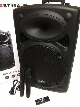 "Акустична система комбік 2 радіо мікрофона бездротова акумуляторна колонка 15"" USB FM UKC BT15A Black"