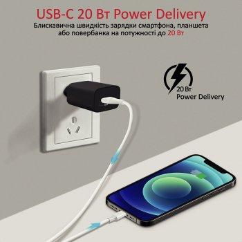 Сетевое зарядное устройство Promate PowerPort-20PD 20 Вт USB Type-C PD Black (powerport-20pd.black)