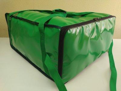 Термосумка на 3х4 коробки 55х55 см для доставки пиццы на молнии. ПВХ материал. Dolphin 57x57 см Салатовая