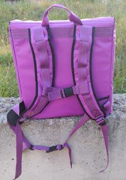 Терморюкзак, рюкзак для доставки піци коробки 42х42 см з відкидною передньою стінкою і верхнім клапаном. Dolphin 43x43 см Бузковий