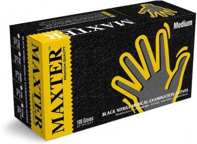 Перчатки нитриловые одноразовые нестерильные без пудры Maxter 5.0 Mil размер M 100 шт - 50 пар Черные (9555002107123)