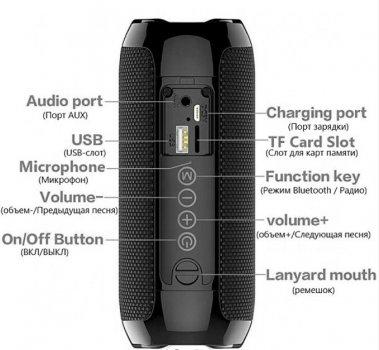 Бездротова портативна Bluetooth стерео колонка T & G 117 BLACK