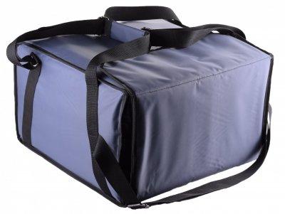 Термо сумка Dolphin для піци горизонтального завантаження на липучках, на 5-6 коробок 42*42. Темно — синя