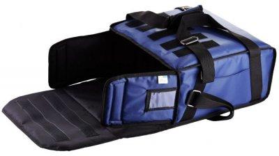 Термо сумка Dolphin для піци горизонтального завантаження на липучках, на 3-4 коробки 32*32. Темно — синя