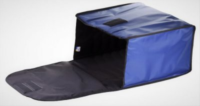 Термо сумка з вкладишем «конверт» для піци Dolphin горизонтального завантаження, на 5-6 коробок 32*32. Темно — синій