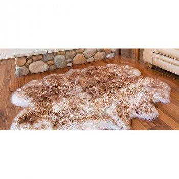 Шкура з овчини Lizhnyk (С702) з 4-х овечих шкур овеча хутряна накидка з коричневими кінчиками