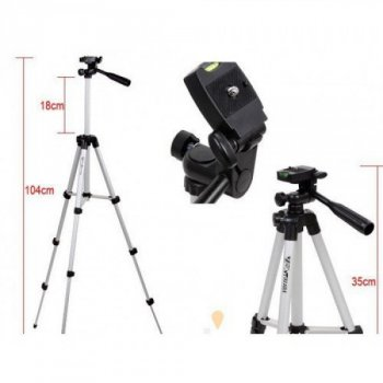 Штатив Телескопический Weifeng 3D (гловка) - Высота 35-106см - Трипод для телефона, GoPro, камеры, фотоаппарата - до 2,5кг