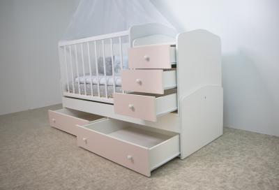 Кровать-трансформер Хейли 3 в 1 (ТК-06) Белый-сакура розовая