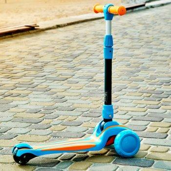 Дитячий складаний триколісний самокат iTrike MAXI 2585 зі світними колесами Блакитний