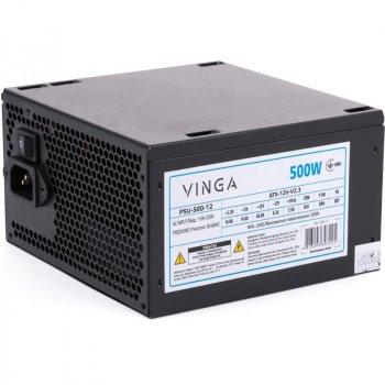 Блок питания 500 Вт Vinga, 24+4+4 pin, питание видеокарты - 1x(6+2pin), 120 мм, ATX, PSU-500-12 Б/У