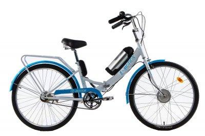 Электровелосипед складной E-motion с низкой рамой 36V 10Ah 350W бело-голубой (21NBG)