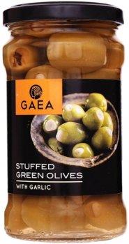 Оливки зеленые Gaea фаршированные чесноком 295 г (5201671000572)