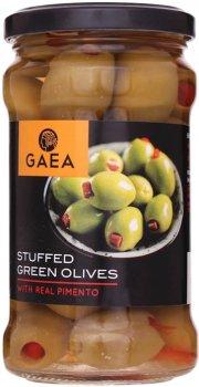 Оливки зеленые Gaea фаршированные перцем 295 г (5201671000558)