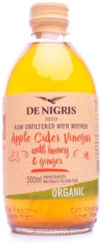 Уксус яблочный De Nigris с медом и имбирем Органический 500 мл (8052049271387)