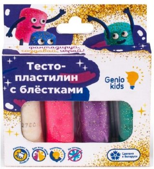 Набор для детской лепки «Тесто-пластилин 4 цвета с блёстками» - GENIO KIDS (TA1087)