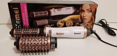 Обертова повітряна фен щітка для укладки волосся з 2 тепловими параметрами Kemei KM-8020 Білий (100002)