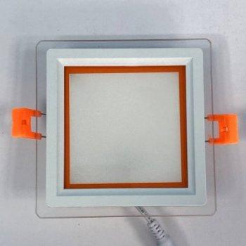 """LED панель """"Сяйво"""" 9W 720Lm 4500K + оранж. 85-265V квадрат + скло""""LEMANSO"""" LM1039"""