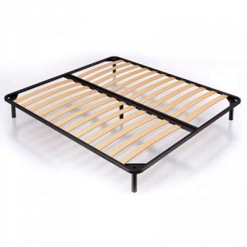 Ліжко півтораспальне з металевим каркасом і м'яким узголів'ям з ДСП і ДВП 120х190 Ніка оббивка тканина блакитний Eurosof (без матраца і ніші)