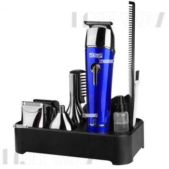 Триммер стайлер для стрижки волос и бороды профессиональный аккумуляторный беспроводной 5в1 DSP Blue (F-90030)