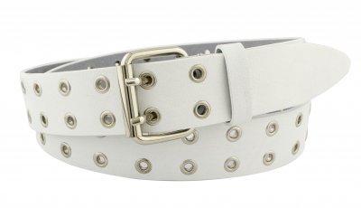 Женский кожаный ремень с люверсами J.K. 4 см для джинсов или платья белый 110-130 см (JK113046)