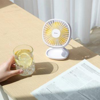 Портативний Вентилятор BASEUS Pudding-Shaped Fan настільний Білий