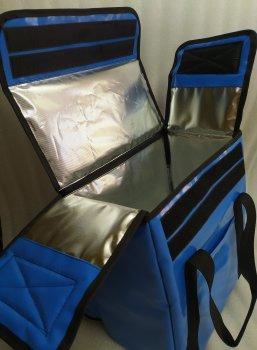 Терморюкзак Dolphin для доставки еды из баннерной ткани ПВХ. Светло-синий