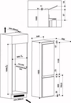 Встраиваемый холодильник Whirlpool ART 9610/A+
