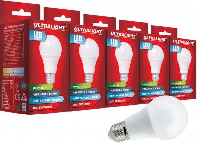 Світлодіодна лампа Ultralight LED A60 10W 4100K E27 (UL-51882) 5 шт.