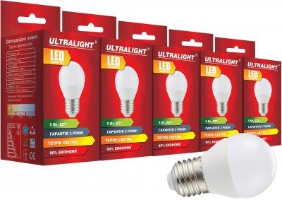 Світлодіодна лампа Ultralight LED G45 5 W 3000 K E27 (UL-51892) 5 шт.