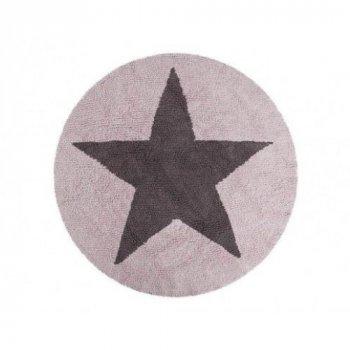 Килимок Lorena Canals Reversible Star темно-сірий з рожевим Ø140