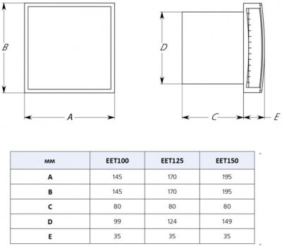 Витяжний вентилятор Europlast EET125Ti з таймером неіржавка сталь