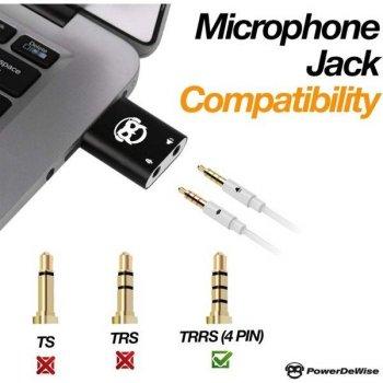 Внешняя звуковая карта-адаптер USB PowerDeWise с 4-контактным разъемом