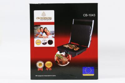 Гриль контактний електричний з регулятором температури GoVern CB 1043 (Crownberg) 2000Вт сэндвичница, бутербродниця Чорний