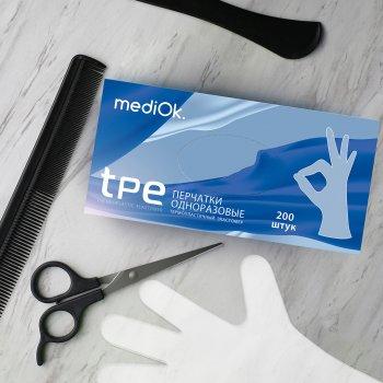 Перчатки одноразовые ТПЕ, 200 шт/уп, Mediok, L