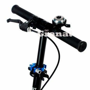 Двоколісний складаний самокат PRIME NEW Explore, з амортизатором і ручним гальмом, підсвічування коліс, діаметр коліс 200 мм, чорний
