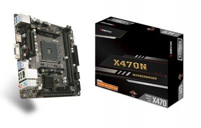 Материнська плата Biostar Socket AM4 AMD X470 MiniITX 1 x PCI-E 3.0 x16 2 x DDR4 DIMM; Кількість каналів 2 24-pin 4-pin (X470NH)