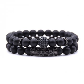 Комплект браслетов «Fleur-de-Lys» камень шунгит, черный